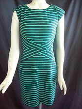 80's New Wave Look AB Studio Green Blue Striped Abstract Op Art Midriff Dress 2