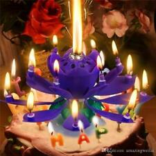 Rotating Blue Lotus Flower Birthday Musical Cake 12 Candles with Music Magic New
