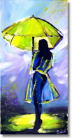Lady mit Regenschirm Wandbild Original Handgemalt Acrylmalerei Art. Nr. 803