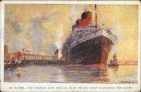 French Line Steamships Havre France Poster Art Promo Advertising Postcard