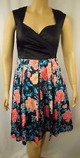 Review Black Multi Floral Geisha Garden Cocktail Races Dress Size 6 # L54a