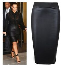 Womens Wet Look Faux Leather Bodyco Pencil Wiggle High Waisted Midi Skirt*wTmdL