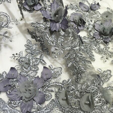 LX01 heavy beaded 3D flower corded lace sold as fabric sample or by 1/2 yard