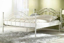 Himmelbett weiß 90 x 200 cm Manege Himmel Bett Metallbett romantisch Einzelbett