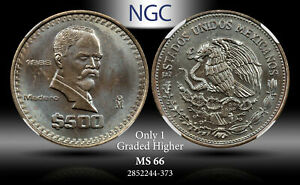1988-MO MEXICO 500 PESOS NGC MS 66 ONLY 1 GRADED HIGHER TONED