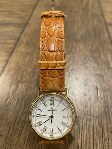 Vintage Movado Gents 87-59-885 Men's Watch WORKING Scratched Crystal Leather