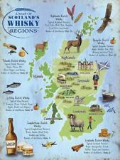 Scotland's Whisky Regions Map large steel sign 400mm x 300mm (og)