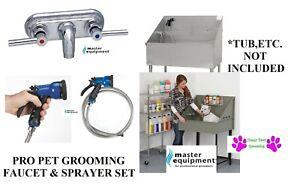 Pet GROOMING FAUCET&Stainless Steel Sprayer Hose&Valve Nozzle Bath Tub SET BLUE