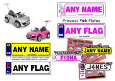 2 X PERSONALISED NUMBER PLATE KID/AUDI R8 PUSH BUGGY/SIT IN/CAR & DRIVER LICENCE