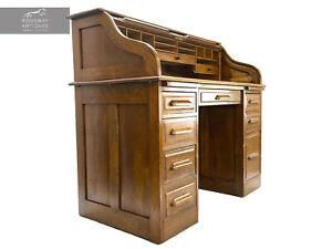 Edwardian, Tambour / Roll Top Oak Desk