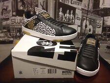 Royal Elastics Icon Black Gold Leopard Men Slip On Leather Sneakers US 13 EU 47