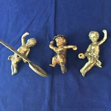 Vintage Brass Cherubs Wall Decor Metal Angels Figurines Candle Holder Lot of 3