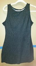 Currants Jumper Style Tank Dress Black Striped Polka Dots Ruby Buttons Size Med