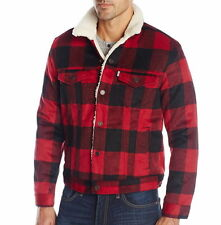 Levi's Trucker Jacket Size L Red Plaid Wool Blend Sherpa Lined NEW
