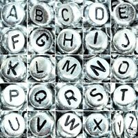 100 set of 26 alphabet letter from A to Z, 7 mm, flat, silver beads black letter