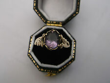 Vintage Women's 9ct Gold Solitaire Ring Amethyst Stone Ring Size O Weight 2g