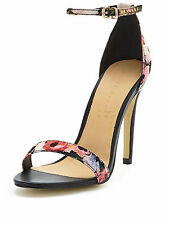 Shoe Box Isabella Ankle Strap Minimal Heeled Floral Sandals Shoes Size 3/36 New