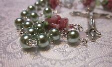 Rose Beauty:   Striking sage glass pearl rosary w roses + silver trim 12-12-3