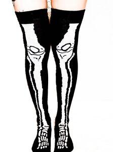 Ladies/Womens Skeleton Leg Over The Knee Socks Halloween fancy dress