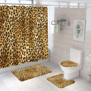 Leopard Print Shower Curtain Set Thick Bathroom Rugs Bath Mat Toilet Lid Cover