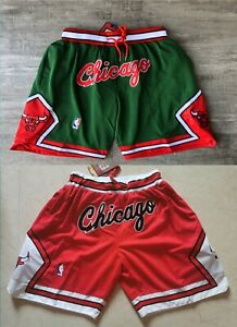 Men's Chicago Bulls Basketball Shorts Pants NWT Stitched green red