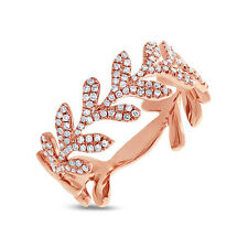 14K Rose Gold Diamond Cocktail Leaf Ring Womens Statement Right Hand Round Sz 7