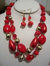 Two Layers Multi Red Stone Glass Bead And Faux Pearl Necklace Earring Set