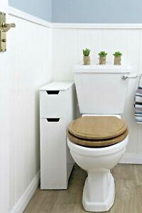 SENNEN Super Slim Narrow Bathroom Storage Unit - Small White Wooden Cabinet