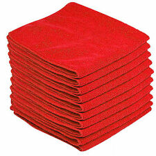 10 x RED CAR CLEANING DETAILING MICROFIBER SOFT POLISH CLOTHS TOWELS LINT FREE