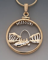 "Missouri U.S. State Coin Pendant Necklace.Hand cut - 7/8"" diameter( # 2024 )"