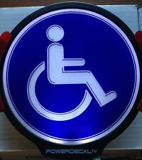 Handicap Light Up Decal LED Motion And Light Sensing Auto Decal Blue Background