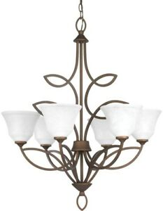 Chandelier 6-Light Adjustable Hanging Length in Roasted Java with Glass Shade