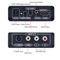 3RCA AV+S-Video to 1080P HDMI Converter CVBS Composite S-Video R/L Audio Adapter