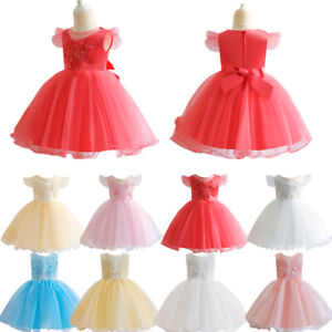 Flower Kids Girls Princess Dress Tulle Bridesmaid Formal Pageant Gown Birthday