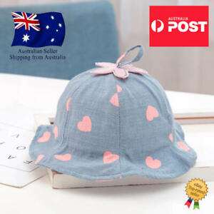 Baby Bucket Hat Cotton Summer Beach Sun Cap Chin Strap Various Colours AU Stock