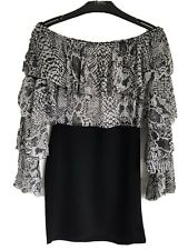 Ladies Black Mix In The Style Off The Shoulder Animal Print Ruffle Dress Size 10
