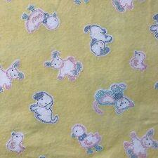 Kids Yellow Animals Flannel Cotton Fabric 2+ Yards Puppy Kitten Duck Bunny Bird