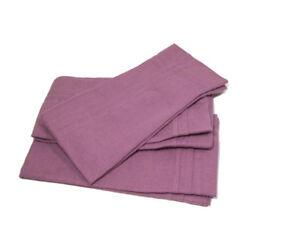 Williams Sonoma Linen Pleated Edge Muted Purple Dinner Napkins Set of 4 New