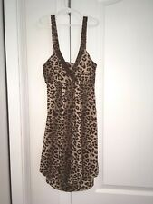 LADIES WET SEAL SIZE SMALL LEOPARD BUBBLE DRESS V- NECK TRIMMED IN COPPER SEQUIN