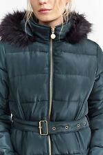 NEW Womens Brave Soul Padded Faux Fur Hooded Ladies Parka Jacket Coat UK 8-16
