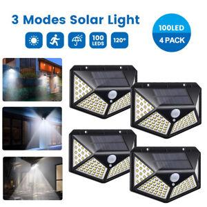 4x LED Solar Powered PIR Motion Sensor Outdoor Garden Light Security Flood Lamp