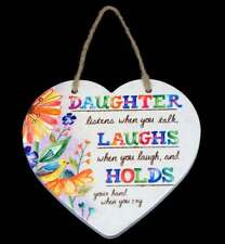 Daughter Hanging Plaque Gift Ceramic Wall Decor with Quote Rainbow