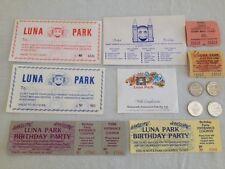 LUNA PARK 12 VINTAGE COUPONS, TICKETS & TOKENS