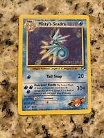 Misty's Seadra 9/132 Prerelease Promo Gym Hero Holo. Pokemon Card.