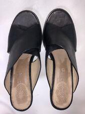 Aldo Women's Black Leather Cross Toe Straps Slip-On Block Heel - 7.5M