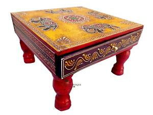 Wooden Elephant Handpainted With Drawer Chowki Table , Indian Bajot Storage Draw
