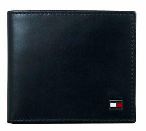 Tommy Hilfiger Men's Genuine Leather Slim Oxford Bifold Wallet Black
