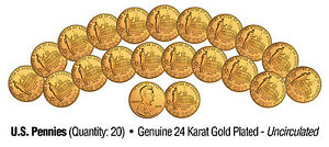 2009 Uncirculated 24K Gold LINCOLN PROFESSIONAL LIFE U.S. Pennies (Lot of 20)