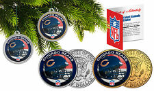 CHICAGO BEARS Christmas Tree Ornaments JFK Half Dollar US 2-Coin Set NFL
