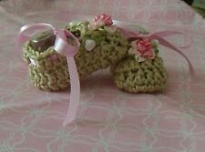 BABY SHOES HANDMADE CROCHET 0-3 MONTHS BEIGE -PINK ROSES by ROCKY MOUNTAIN MARTY